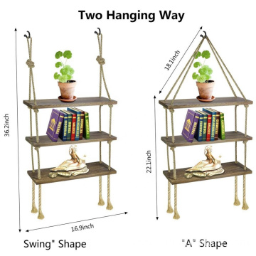 Rustic Wall Hanging Shelf Wood Hanging Shelf Thick Hanging Rope