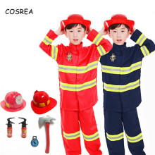 Fireman Sam Suit Kids Boys Halloween Christmas Party Cosplay Costumes Toy Firefighter Funny Hat Axe Accessories Props Children