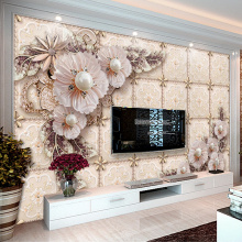 Custom Mural Wallpaper Luxury 3D Stereoscopic Jewelry Pearl Flower Living Room Sofa TV Background Wall Painting Papel De Parede