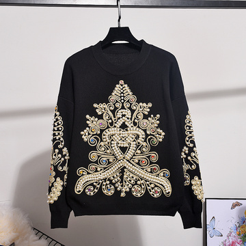 Autumn New Fashion Embroidery patches Beading Knit