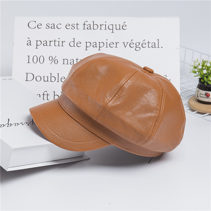 Solid color pu leather British retro octagon beret (5)