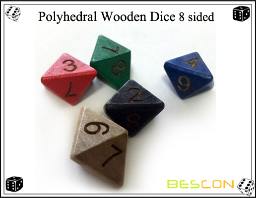 Polyhedral Wooden Dice 8 sided