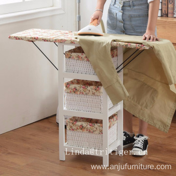 Folding wood ironing board cabinet with storage willow basket iron frame