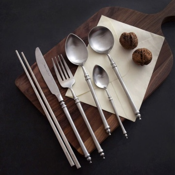 Retro Luxury Silverware Set Stainless Steel Flatware Set