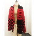 Custom Red Knitted Fringe Scarf