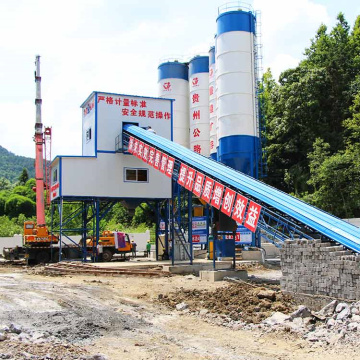 Stationary belt conveyor HZS60 concrete batching plant