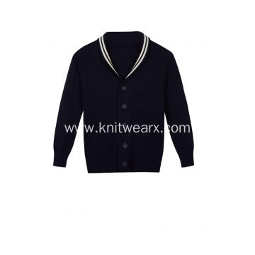 Boy's Knitted Shawl Neck Buttoned School Cardigan