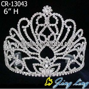 6 Inch wholesale rhinestone pageant crowns tiaras