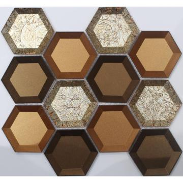 Shiny Color Mixed Crystal Glass Hexagon Mosaic