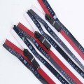 Stripe edge and printed letters waterproof zipper