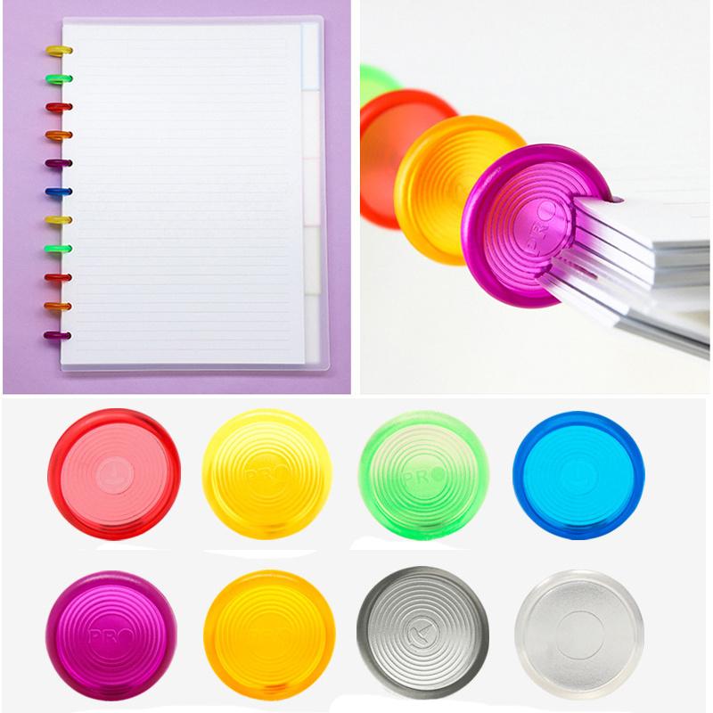 30PCS Color Mushroom Hole Plastic Binding Ring 24MM Notebook Plastic Loose-leaf Disc Binding Buckle 360 Degree Foldable Binding
