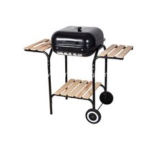 "18"" Square Charcoal Grill with Side Shelves"