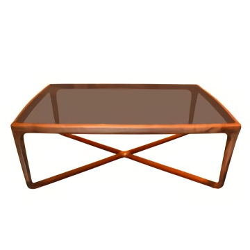 Wooden Light Luxury Tea Table with Glass