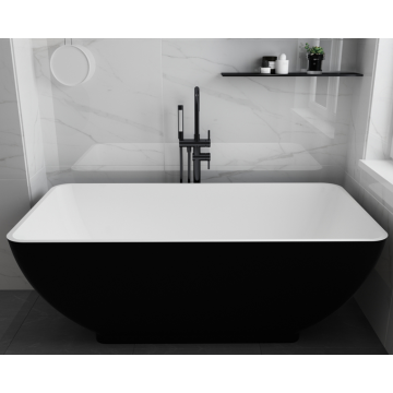 Black Custom Size Freestanding Solid Acrylic Bathtub