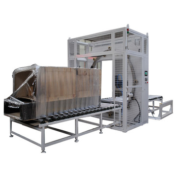 Turntable stretch pallet film wrapper wrapping machine