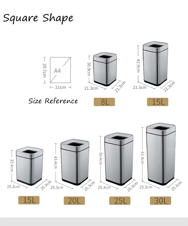 Square Metal Garbage Can