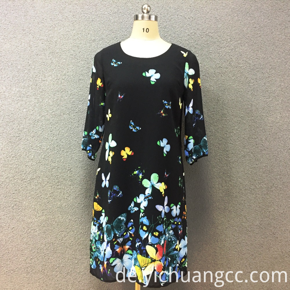 Women's polyester butterfly digital printed long sleeves dress