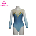 Customized Blue Long Sleeve Dance Gymnastics Leotard