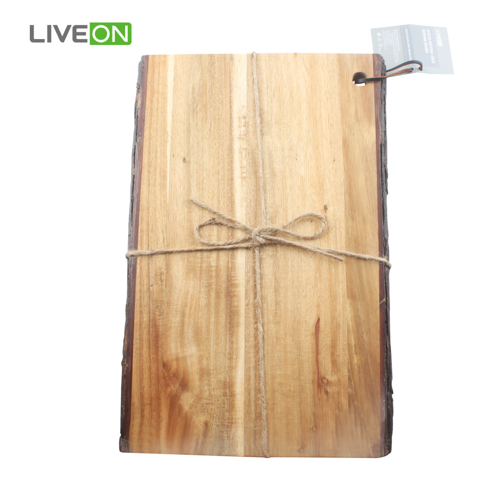 Solid Wood Cutting Board with Nature Bark