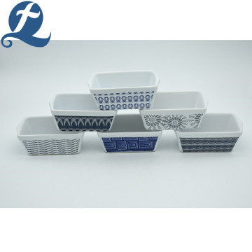 China Manufacture Rectangular White Applique Custom Printed Ceramic Bakeware