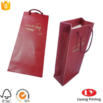 Paper gift bag for two bottles wine packaging