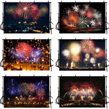 Mehofond Happy New Year Fireworks Firecrackers Photo Background Celebration Party Birthday Photography Backdrops Photo Studio