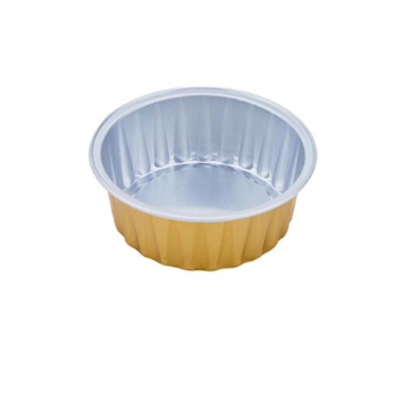 Round coated Aluminum Foil Container for oven cooking