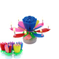 Musical Spinning Rotating lotus Flower Cake Birthday Candle