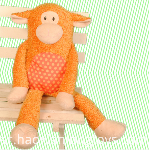 A stuffed monkey loved by children