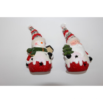 Snowman/ Santa Claus Christmas Ceramic Decoration with light