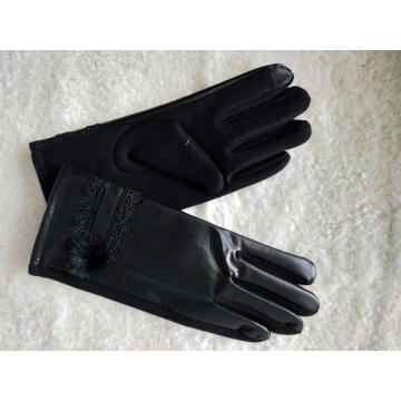 ladies touch screen PU mittens warm glove