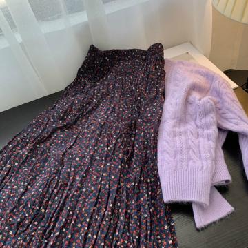 Purple Taro Long Skirt Retro Female Autumn Fresh Shredded Flower Long Skirt Chiffon Skirt Umbrella