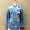 Camicia in denim a manica lunga in cotone da donna
