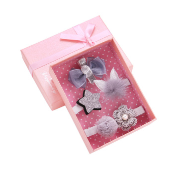 Pink Paper Girl's Hair Clip Set Gift Box