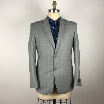 wedding fitness grey checked Men's Suits