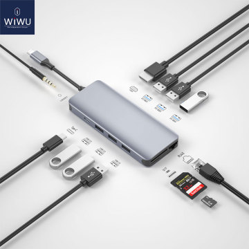 WiWU 12 in 1 USB Hub for MacBook Air Pro 13 16 2020 M1 VGA/RJ45 Multi-function Type C Hub Adapter for Huawei USB Splitter
