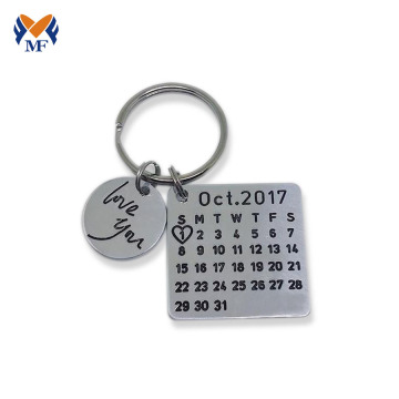 Metal custom calendar keychain for anniversary