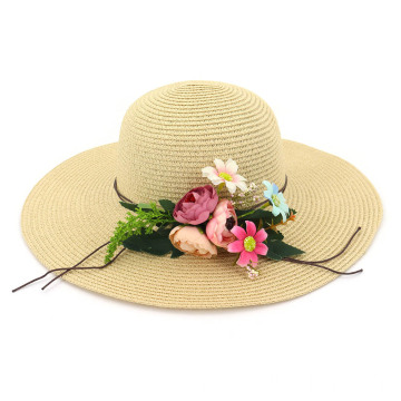 Cute flower design beach paper straw hat
