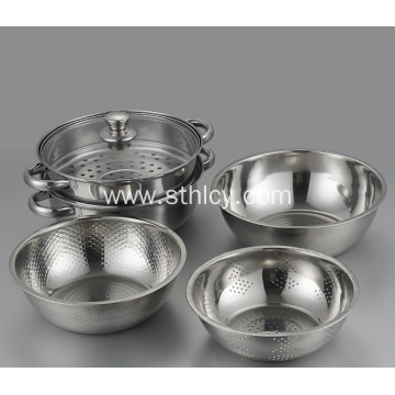 Stainless Steel Soup Boiler + Rice Sieve Set
