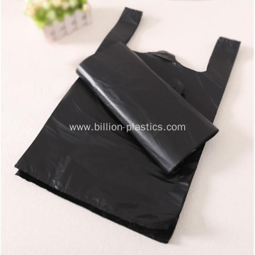 Plastic Shopping Vest Bag in Black