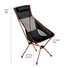 Outdoor High Back Lightweight Camp Chair mit Kopfstütze