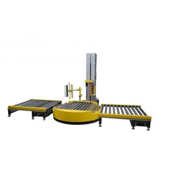 Automatic pallet wrapper with roller packing line