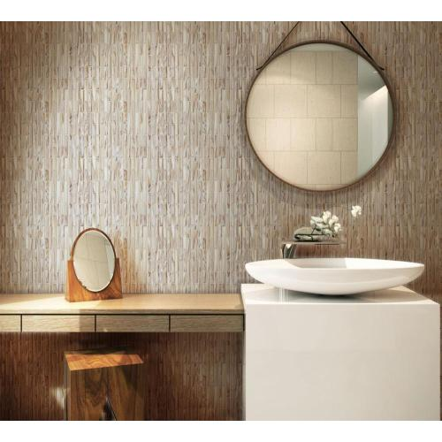 Brown Tans Striped Glass Mosaic Tiles For Bathroom