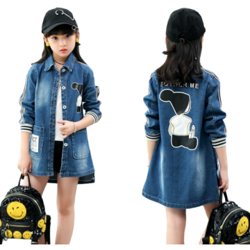 Girls Stylish Pattern Windproof Denim Jackets