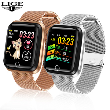 LIGE Smart Watch Women Sports Smart Bracelet IP67 Waterproof Watch Pedometer Heart Rate Monitor LED color screen for Android ios