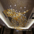 Hotel hall glass ABS metal pendant light chandelier