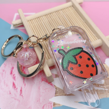 Cute Fruit Liquid Keychain