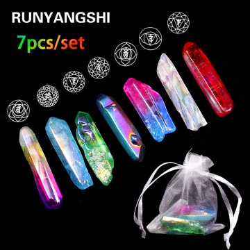 Natural Chakela Stone Set 7 Colors clear quartz Electroplated Crystal Column Color-plated Unicuspid Ornaments Decoration