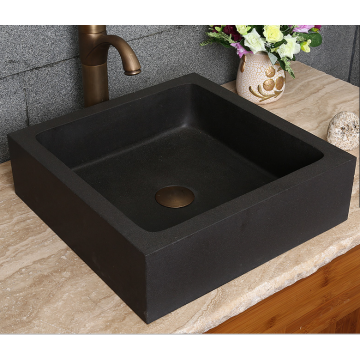 Square honed natural black lava square stone basin