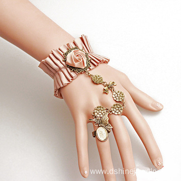 Ribbon Fabric Rose Lace Bracelet With Ring Wristband Pattern